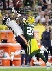 Packers cornerback Jaire Alexander breaks up a pass to the Bears' Allen Robinson in the season opener Sept. 9 at Lambeau Field.