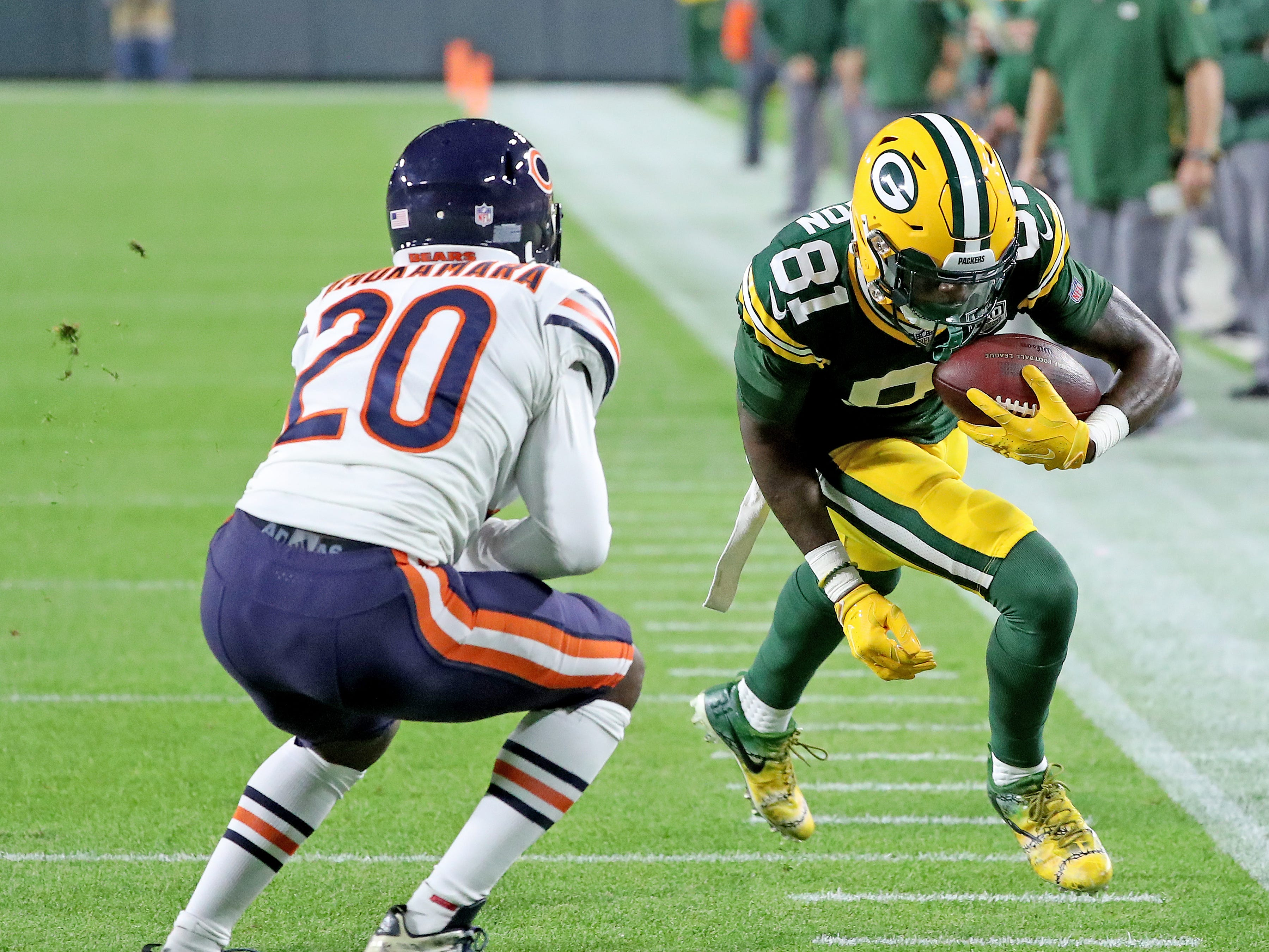 Green Bay Packers wide receiver Geronimo Allison (81) against the Chicago Bears Sunday, September 9, 2018 at Lambeau Field in Green Bay, Wis.