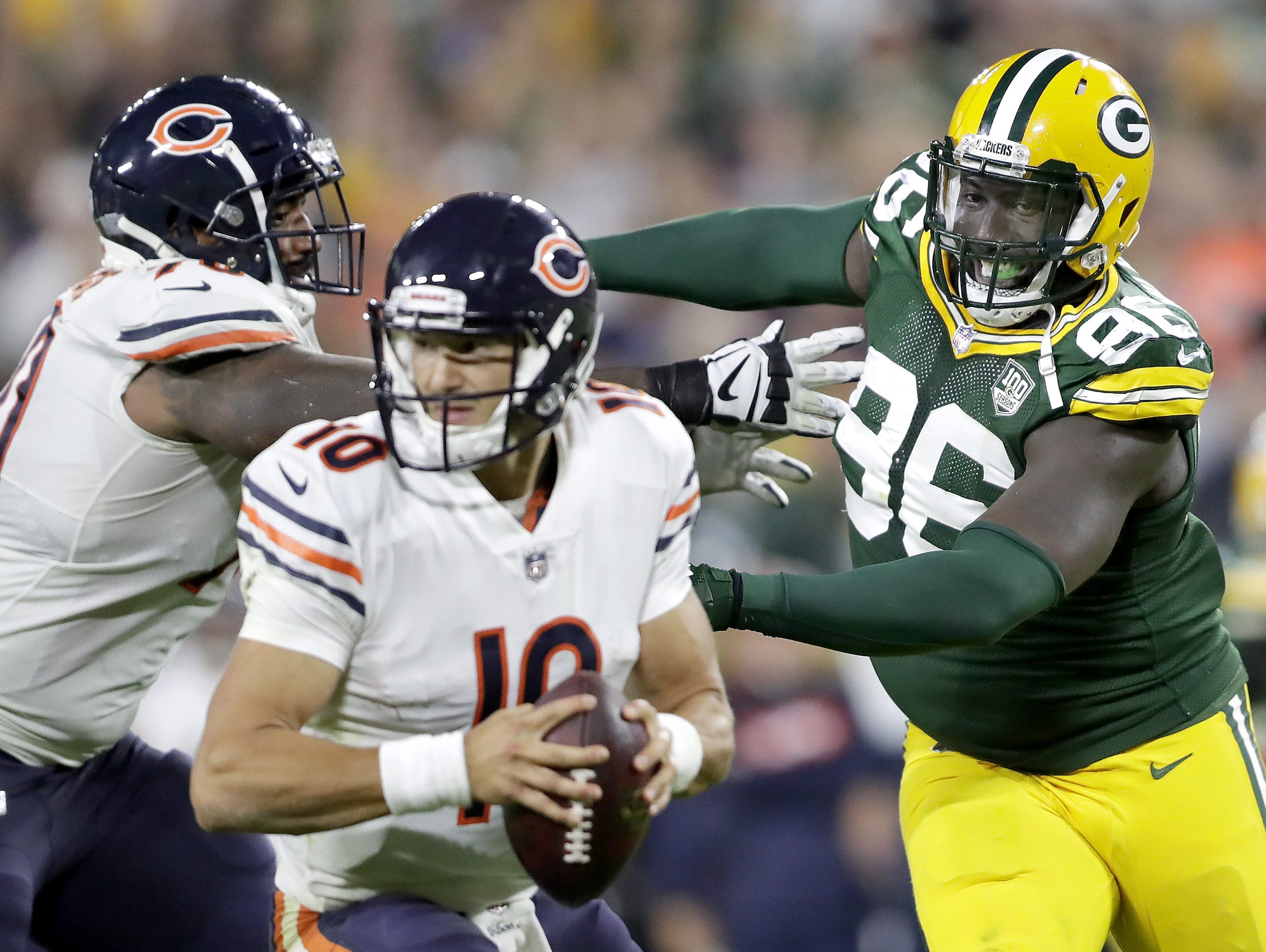 Green Bay Packers' Muhammad Wilkerson rushes Chicago Bears' Mitchell Trubisky in the fourth quartera in the season opener on Sunday, September 9, 2018, at Lambeau Field in Green Bay, Wis. The Packers defeated the Bears 24 to 23.