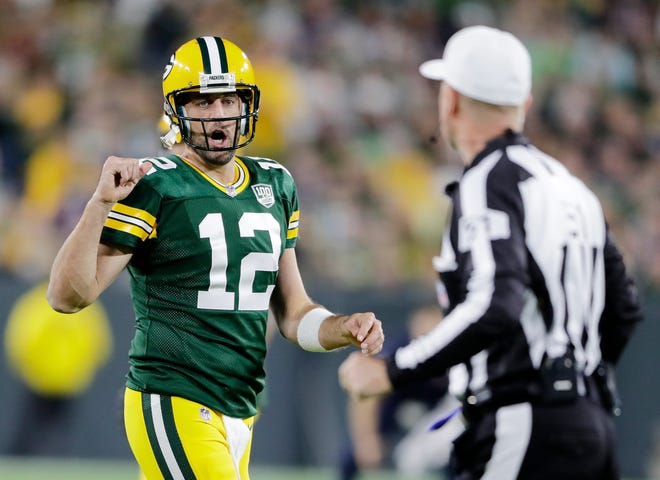Green Bay Packers quarterback Aaron Rodgers (12) talks to a referee during the second half against the Chicago Bears at Lambeau Field on Sunday, September 9, 2018 in Green Bay, Wis.Adam Wesley/USA TODAY NETWORK-Wisconsin