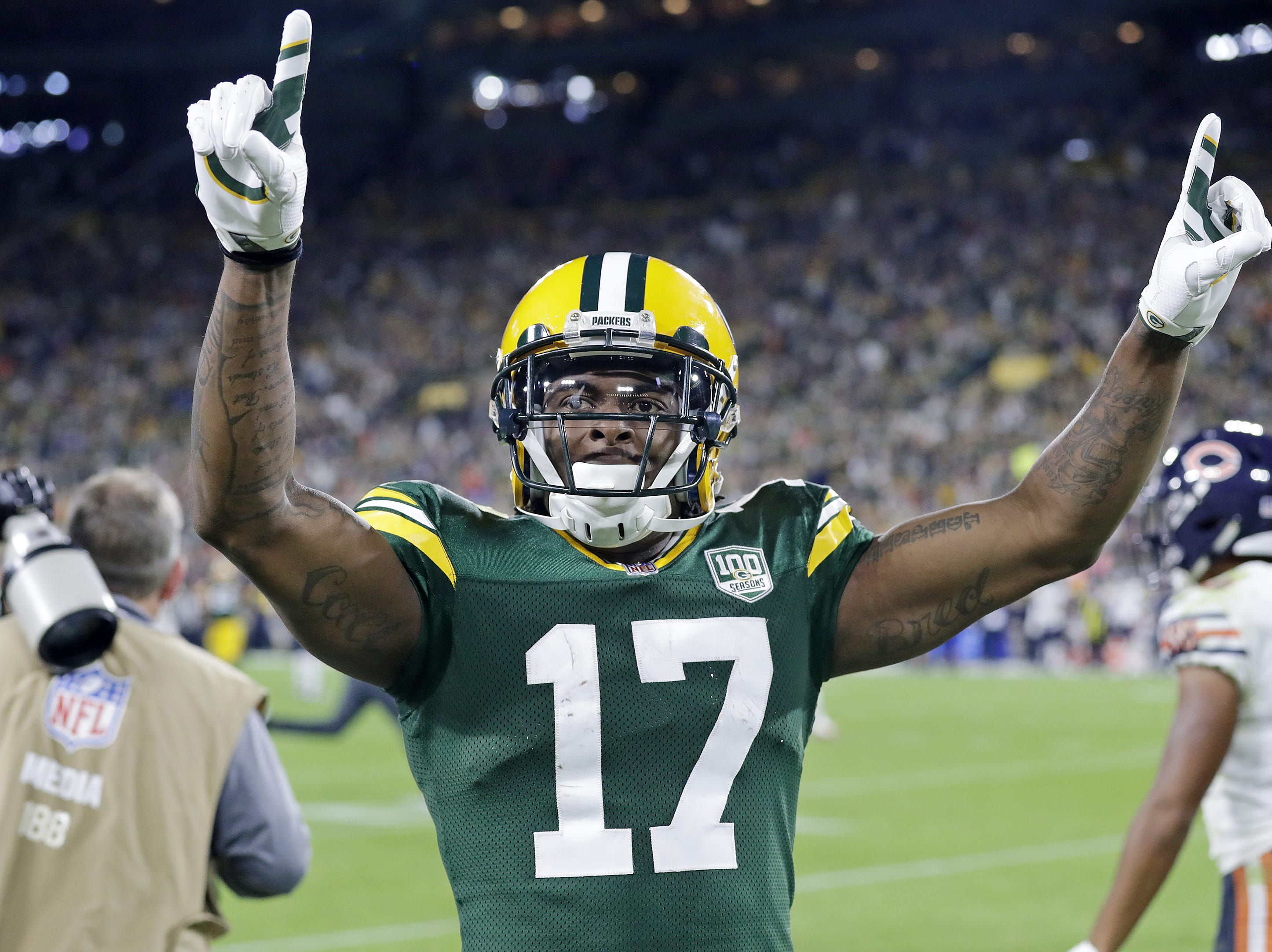 Green Bay Packers wide receiver Davante Adams (17) celebrates at the end of the game against the Chicago Bears at Lambeau Field on Sunday, September 9, 2018 in Green Bay, Wis.