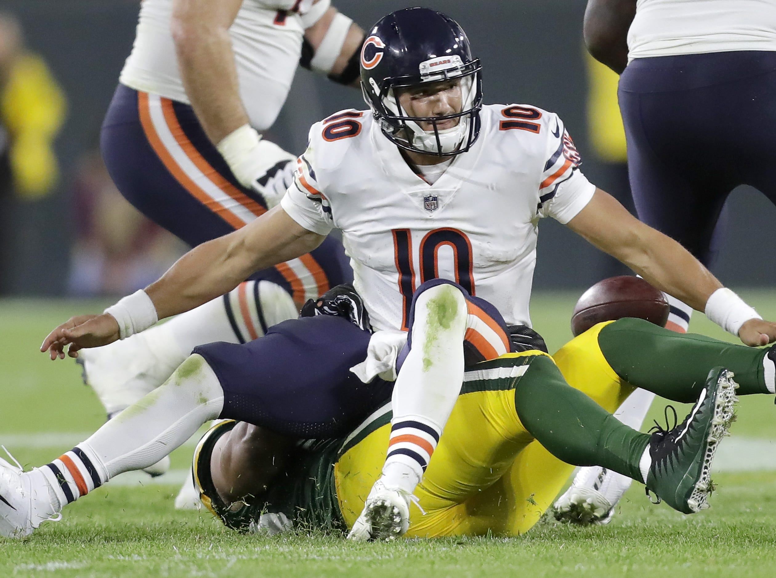 Green Bay Packers' Nick Perry ends a late fourth quarter drive by sacking Chicago Bears' Mitchell Trubisky in the season opener on Sunday, September 9, 2018, at Lambeau Field in Green Bay, Wis. The Packers defeated the Bears 24 to 23.