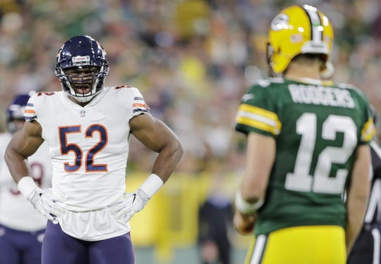 Chicago Bears linebacker Khalil Mack (52) eyes Green Bay Packers quarterback Aaron Rodgers (12) between plays in the third quarter at Lambeau Field on Sunday, September 9, 2018 in Green Bay, Wis.