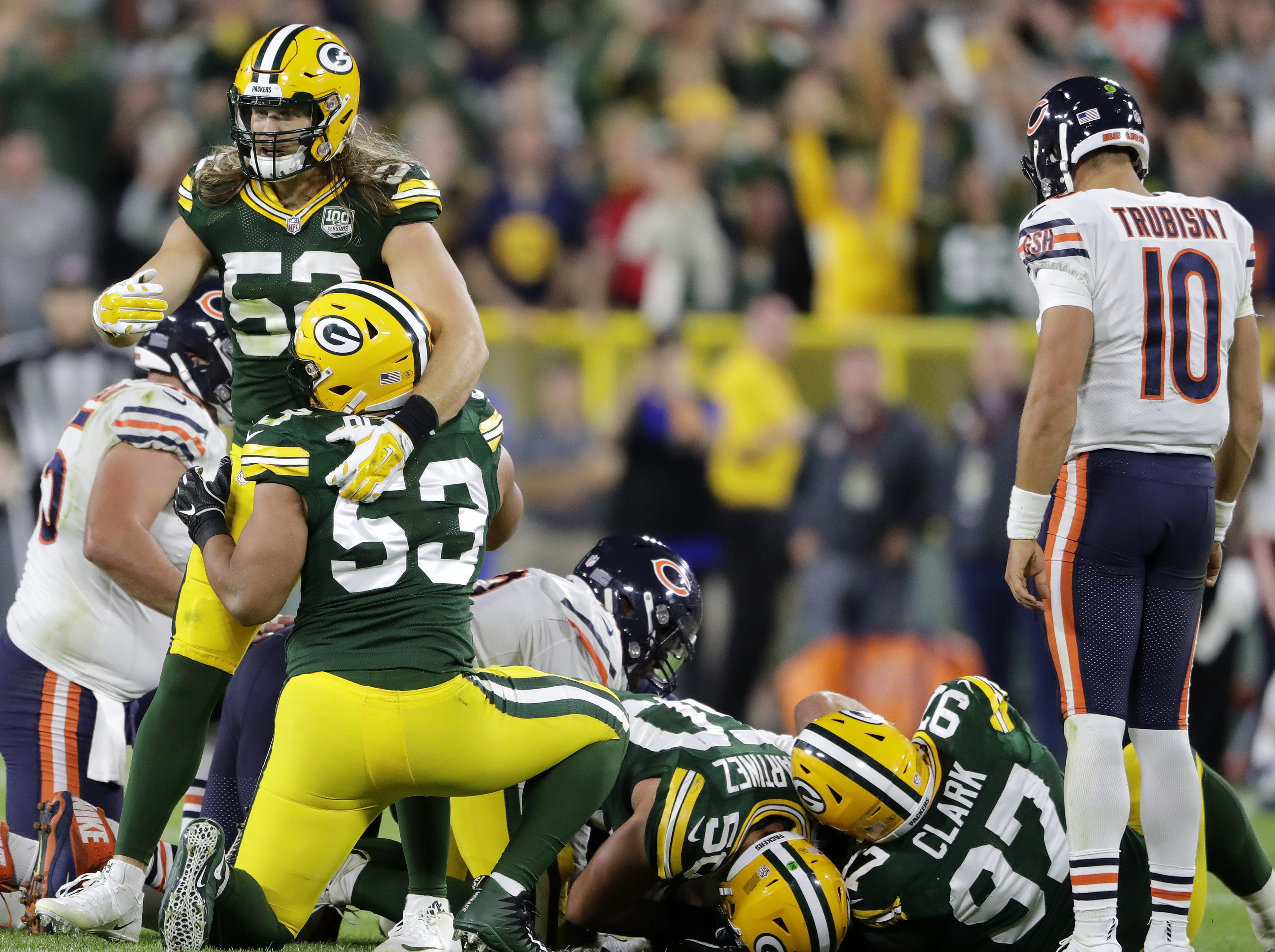 Green Bay Packers linebacker Clay Matthews (52) and linebacker Nick Perry (53) celebrate after Perry forced a fumble from Chicago Bears quarterback Mitchell Trubisky (10) in the fourth quarter at Lambeau Field on Sunday, September 9, 2018 in Green Bay, Wis. Adam Wesley/USA TODAY NETWORK-Wisconsin