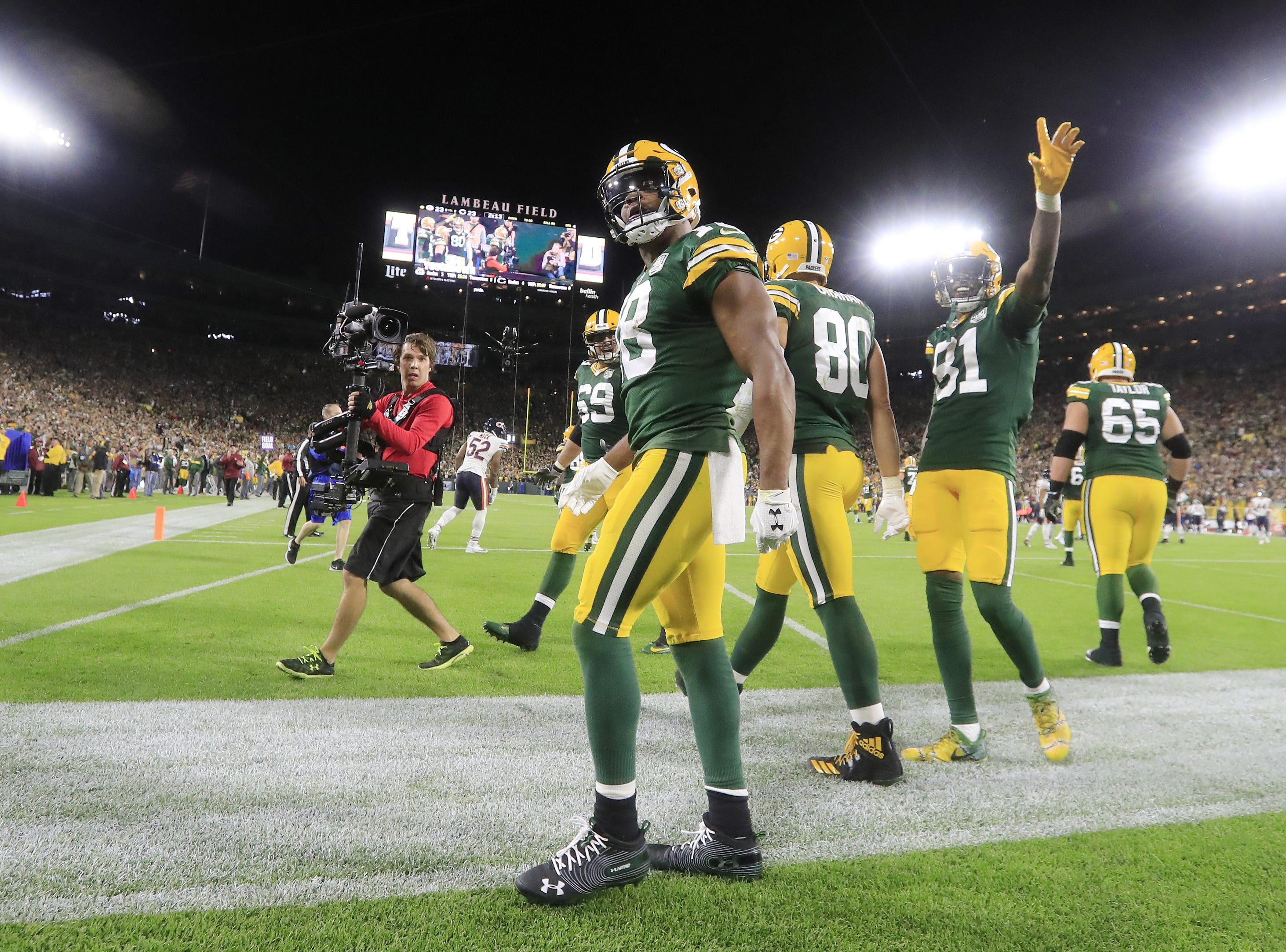 Green Bay Packers wide receiver Randall Cobb (18) celebrates after scoring a 75-yard touchdown against the Chicago Bears in the fourth quarter at Lambeau Field on Sunday, September 9, 2018 in Green Bay, Wis.