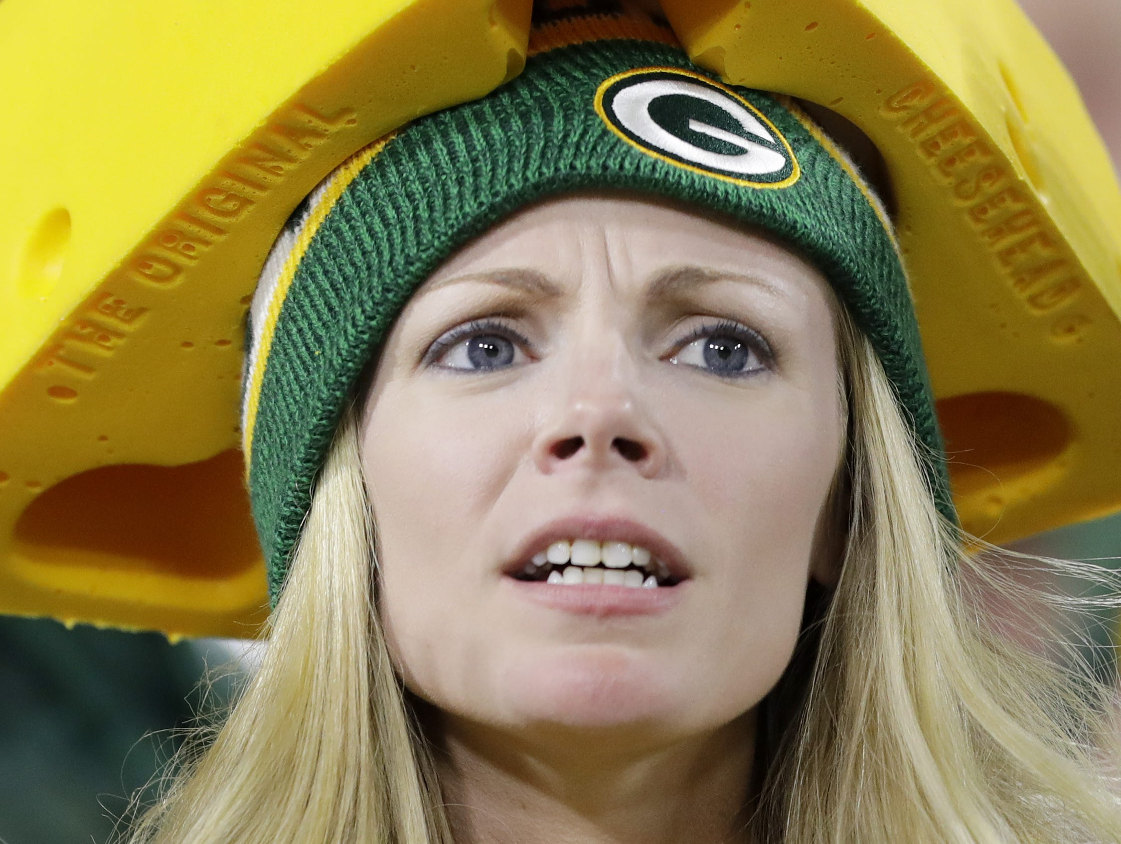 A Green Bay Packers fan watches during the first half against the Chicago Bears at Lambeau Field on Sunday, September 9, 2018 in Green Bay, Wis.