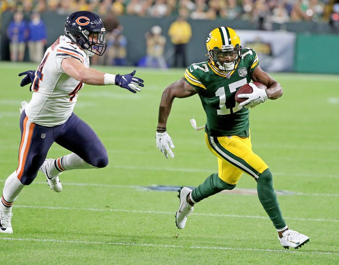 Green Bay Packers wide receiver Davante Adams (17) runs after a catch against the Chicago Bears Sunday, September 9, 2018 at Lambeau Field in Green Bay, Wis.