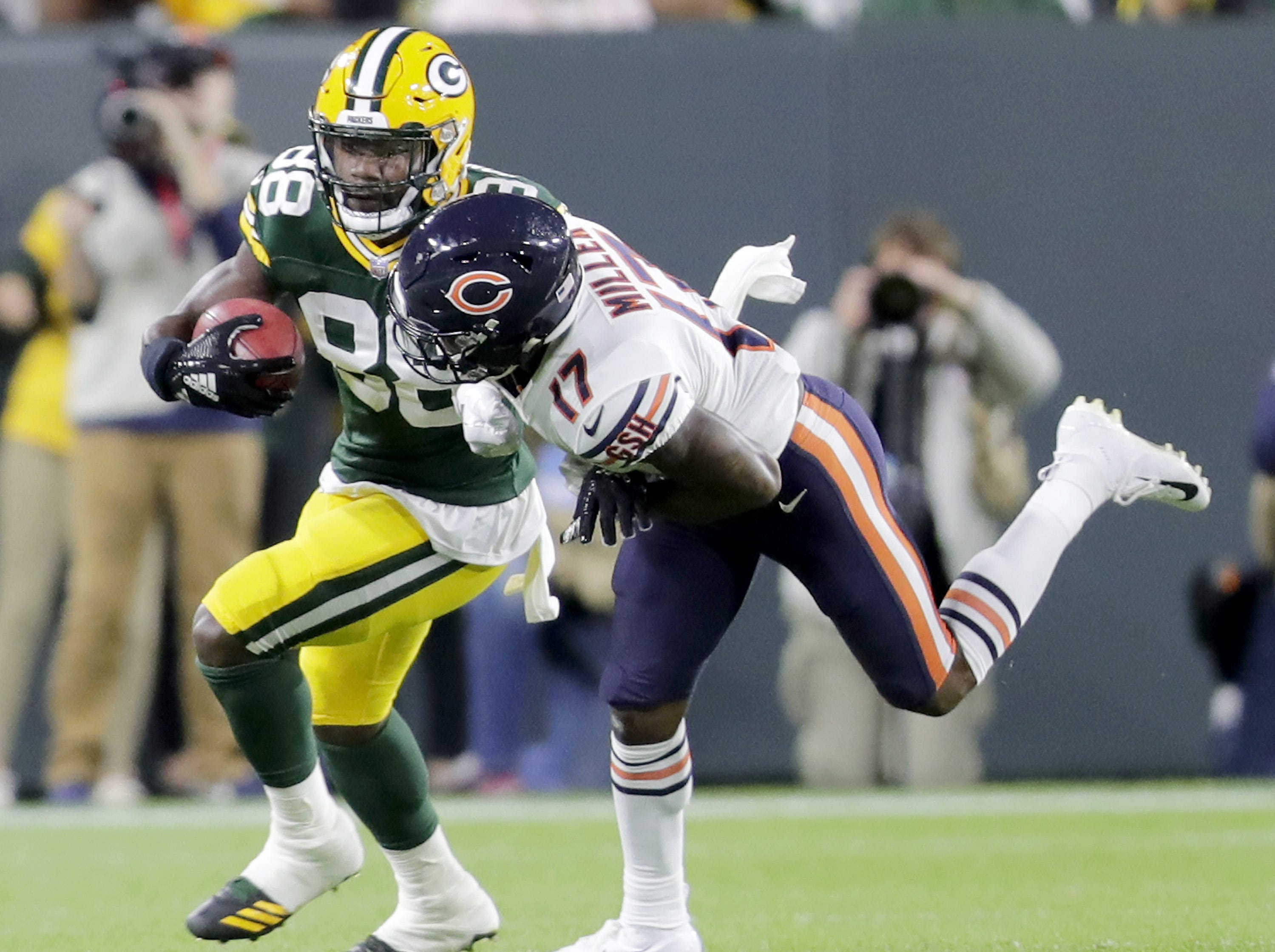 Green Bay Packers' Ty Montgomeryagainst Chicago Bears' Anthony Miller in the season opener on Sunday, September 9, 2018, at Lambeau Field in Green Bay, Wis.