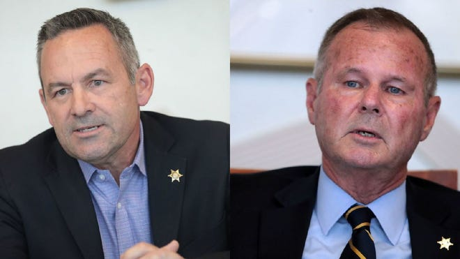 Riverside County Sheriff's race: Chad Bianco vs. Stan Sniff (right).