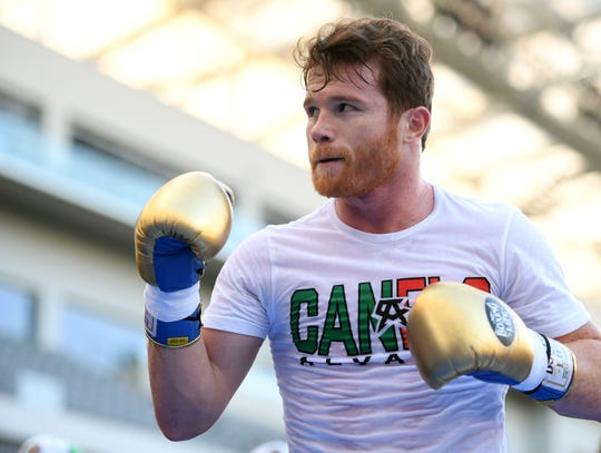 """LOS ANGELES, CA - AUGUST 26:  Canelo Alvarez during a media workout before his fight against Gennady """"GGG"""" Golovkin at the Banc of California Stadium on August 26, 2018 in Los Angeles, California.  (Photo by Harry How/Getty Images)"""
