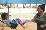 A College of the Desert student finds childcare at the McCarthy Child Development Center.