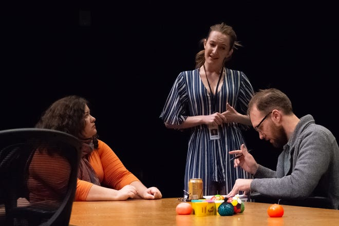 """Stray Cat Theatre's """"The Antipodes"""" features (from left) Dolores Mendoza, Shannon Phelps and Will Hightower."""
