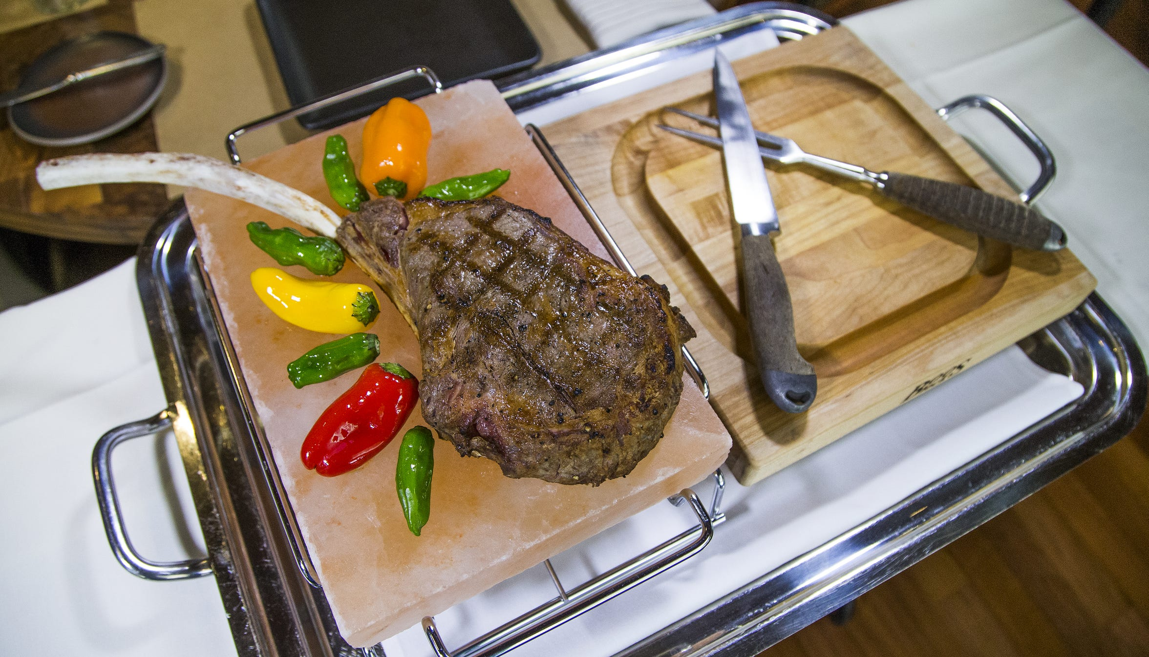 The wagyu tomahawk ribeye from J&G Steakhouse.