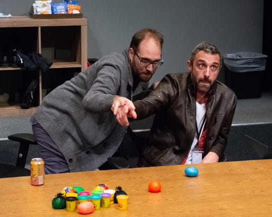 """Will Hightower (left) and Michael Peck in Stray Cat Theatre's """"The Antipodes."""""""