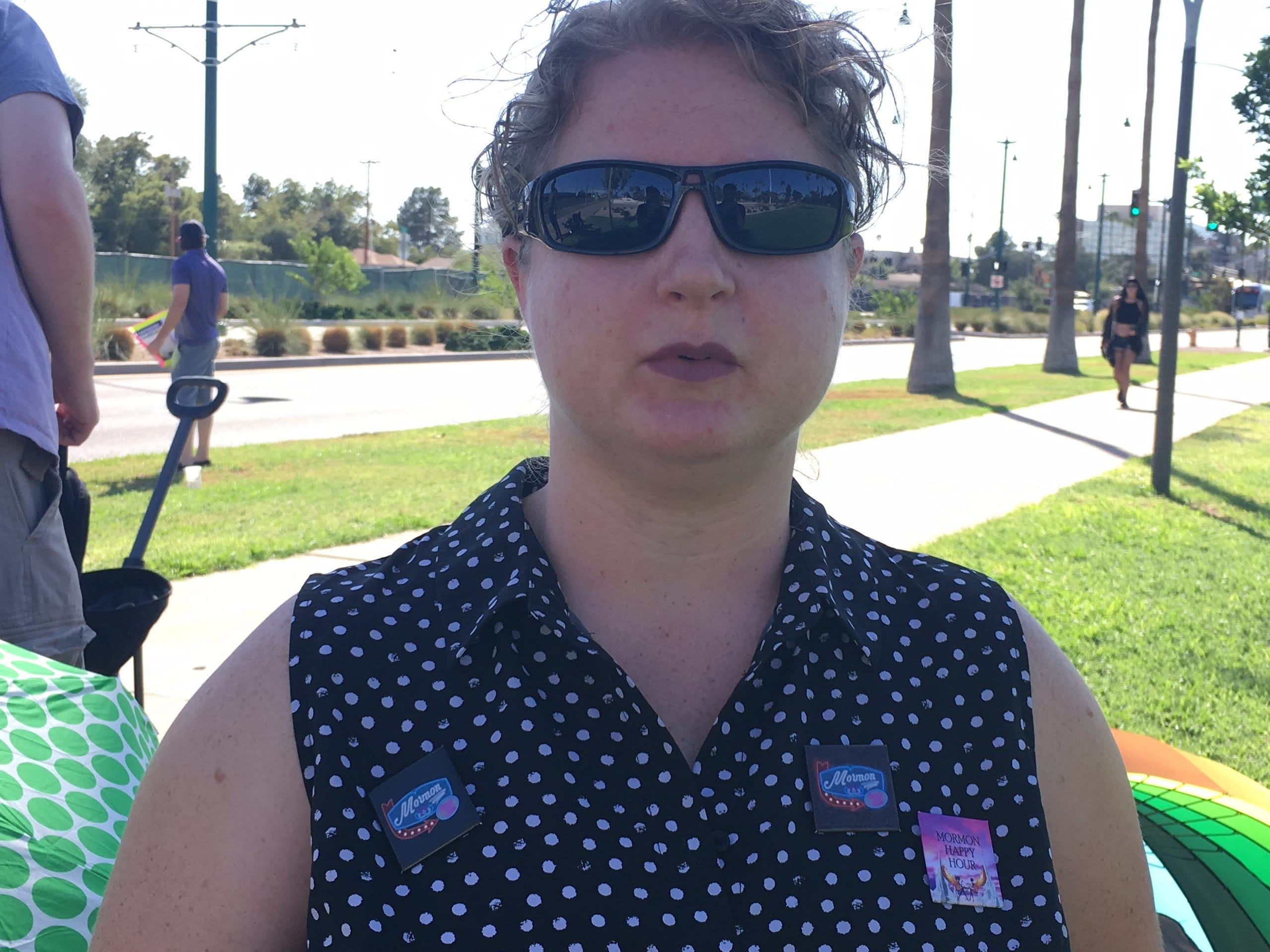 Colleen Payne Dietz, an active LDS church member, organized the Mesa event alongside national protests, Aug. 9, 2018.