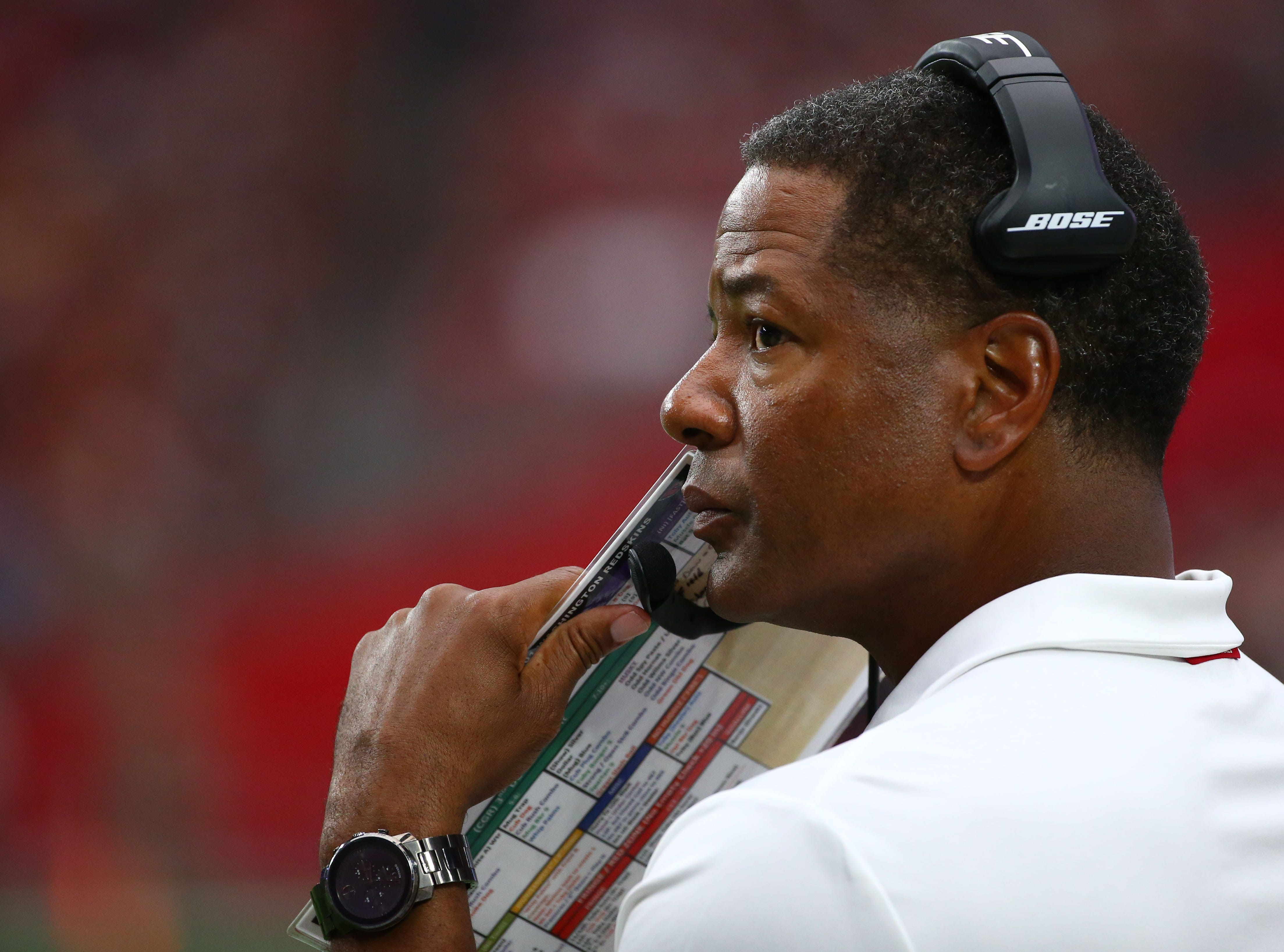 Arizona Cardinals head coach Steve Wilks against the Washington Redskins in the first half at State Farm Stadium.