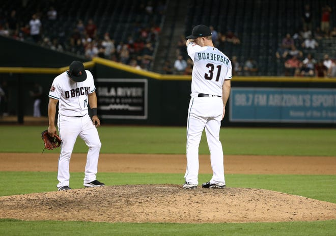 Arizona Diamondbacks reliever Brad Boxberger is pulled from the game against the Atlanta Braves in the tenth inning on Sep. 6, 2018, at Chase Field in Phoenix, Ariz.