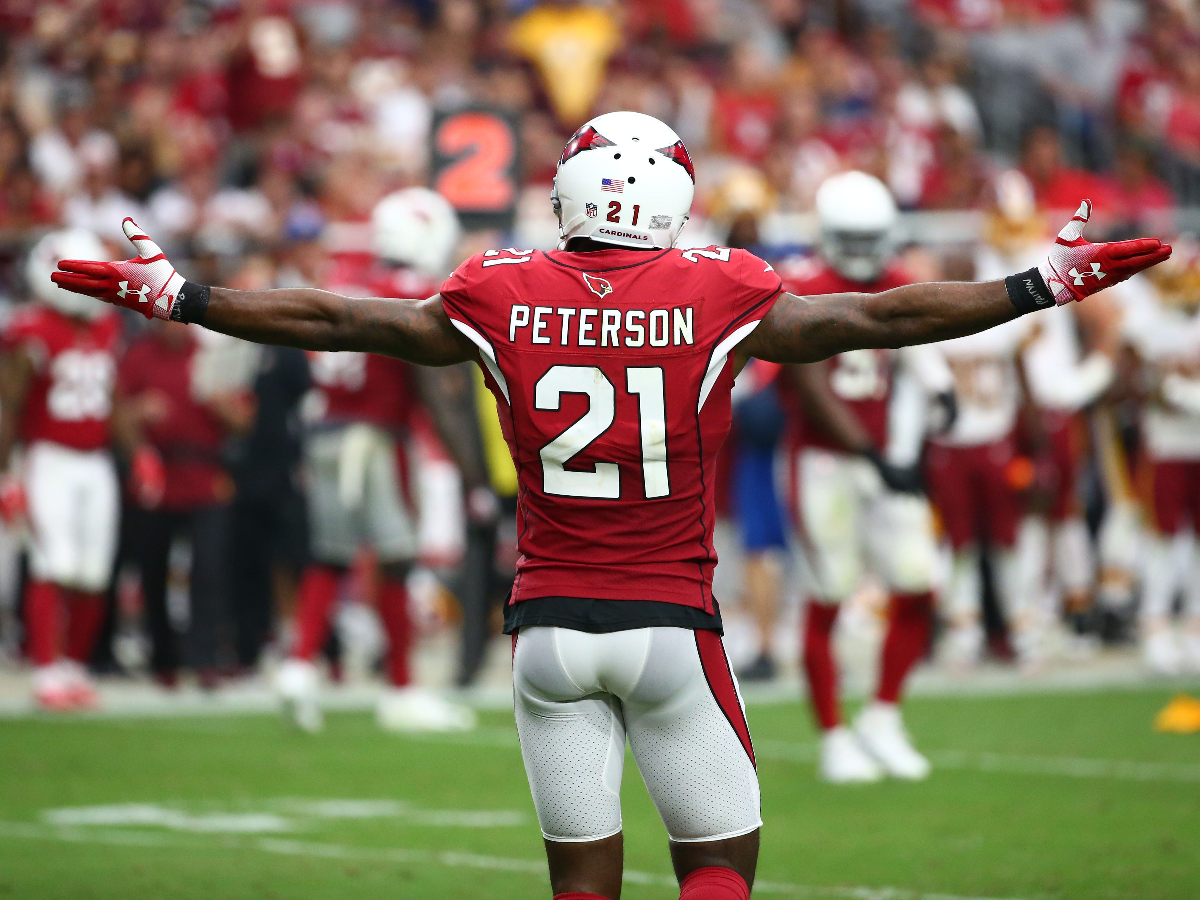 Arizona Cardinals Patrick Peterson reacts after a Cardinals pass interference call against the Washington Redskins in the second half at State Farm Stadium.