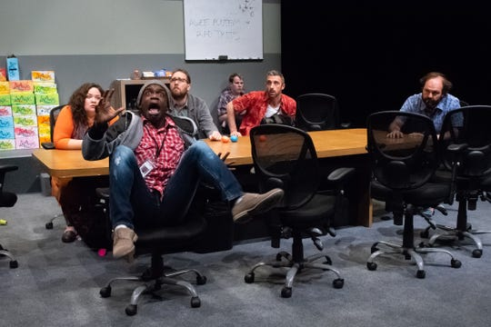 "Michael Thompson (foreground) and the cast of Stray Cat Theatre's ""The Antipodes."""