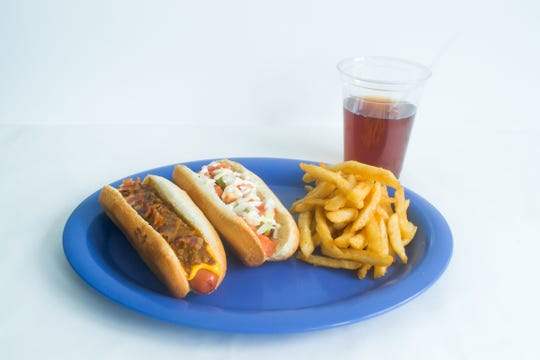 Try the Chili and Cheese Dog, Vegetarian Lettuce, Tomato and Onion Dog, fries and a mango tea at Noshi's Coney Island for $10.