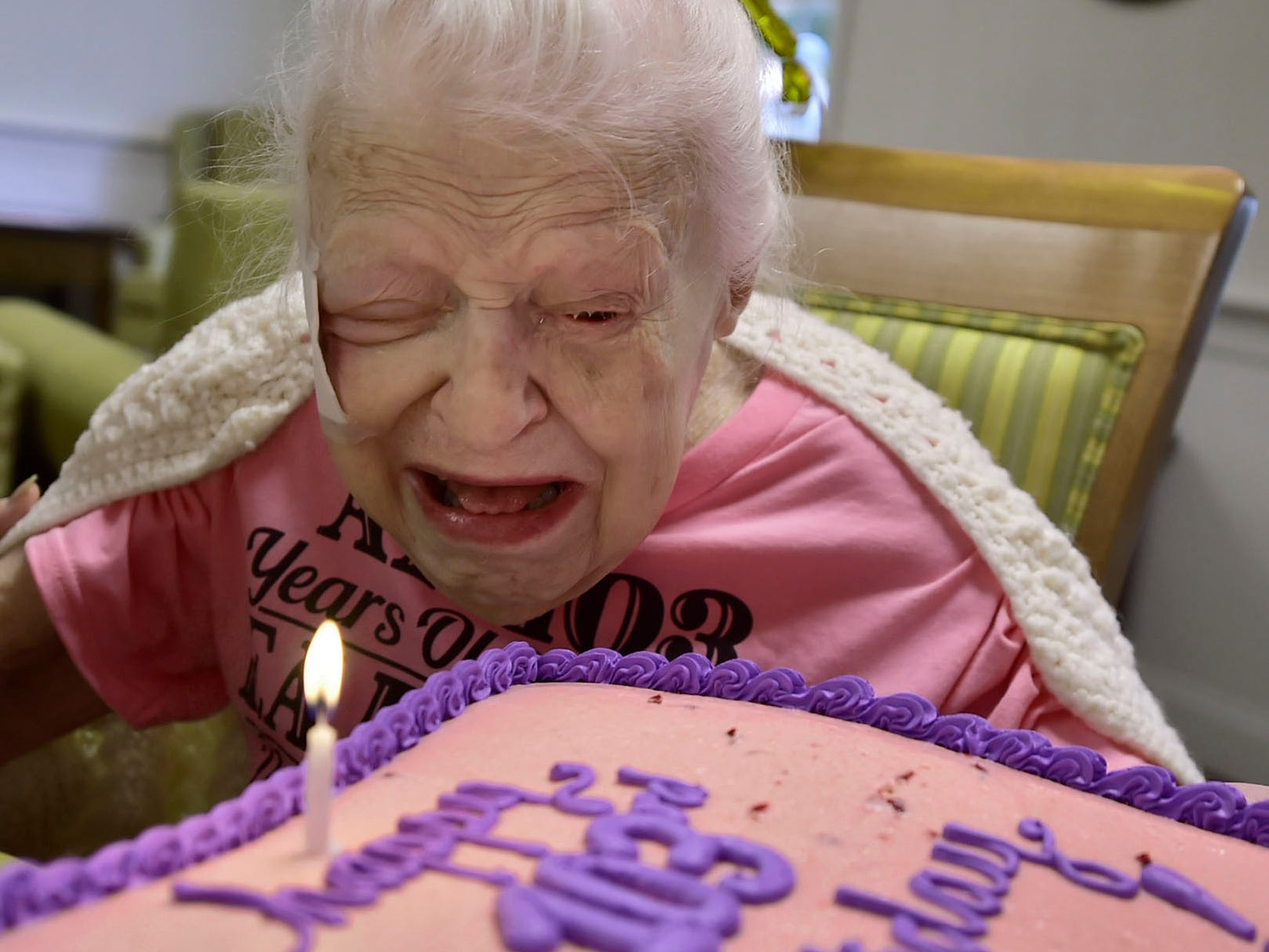Lillian Hoff, who turned 103-years-old, blows out a candle at her birthday party on Monday, September 10, 2018 at Providence Place, Chambersburg. Hoff, a homemaker,  was born in 1915 in Akron, OH, and raised her three children in Cleveland. Family, staff and their children attended the party in the facility's terrace.