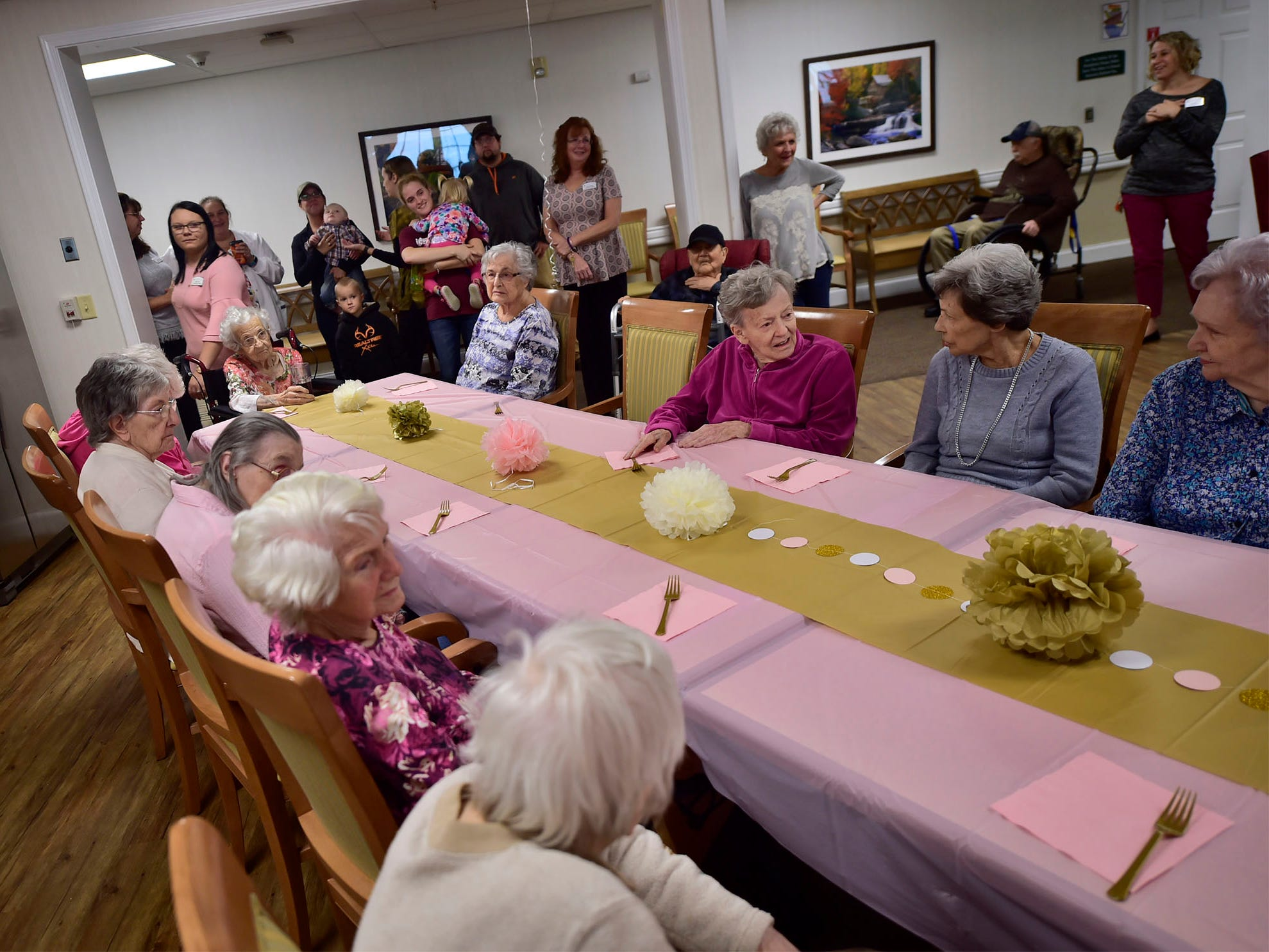 Friends and family attend a birthday party for 103-year-old Lillian Hoff on Monday, September 10, 2018 at Providence Place, Chambersburg. Hoff, a homemaker,  was born in 1915 in Akron, OH, and raised her three children in Cleveland. Family, staff and their children attended the party in the facility's terrace.