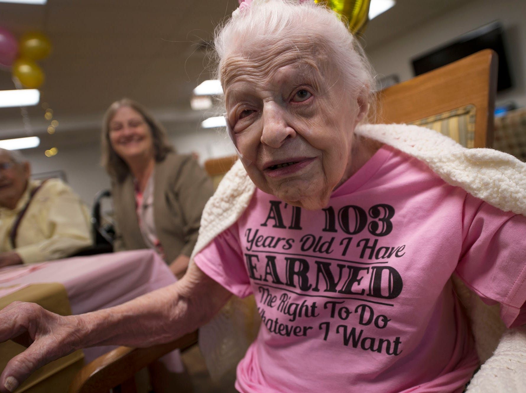 Lillian Hoff, who turned 103-years-old, wers a special t-shirt  at her birthday party on Monday, September 10, 2018 at Providence Place, Chambersburg. Hoff, a homemaker,  was born in 1915 in Akron, OH, and raised her three children in Cleveland. Family, staff and their children attended the party in the facility's terrace.