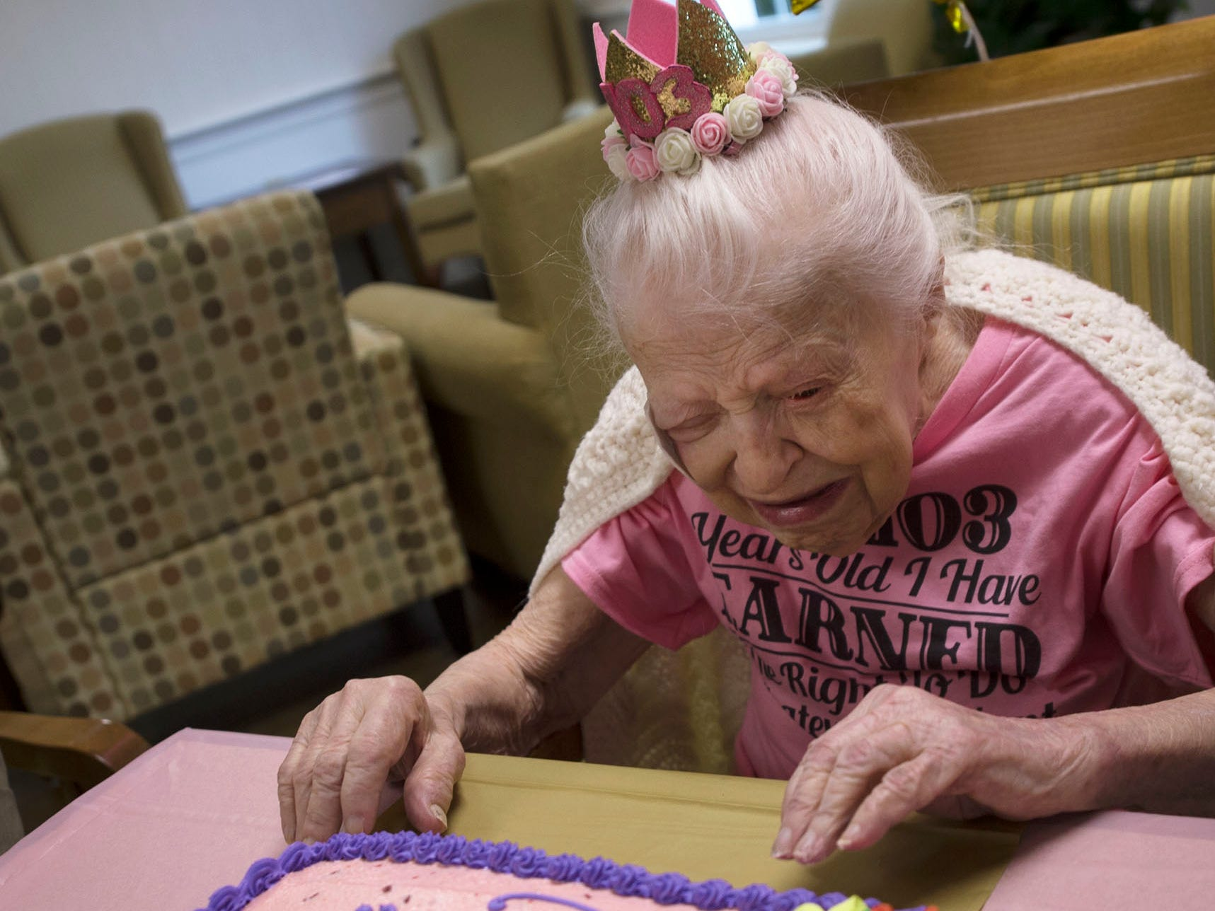 Lillian Hoff, who turned 103-years-old, celebrates her birthday party on Monday, September 10, 2018 at Providence Place, Chambersburg. Hoff, a homemaker,  was born in 1915 in Akron, OH, and raised her three children in Cleveland. Family, staff and their children attended the party in the facility's terrace.