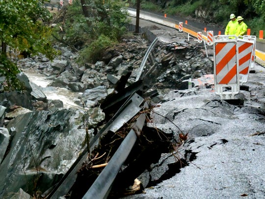 Accomac Road flood damage Monday, Sept. 10, 2018, closed it to one lane of local and emergency travel only. Bill Kalina photo