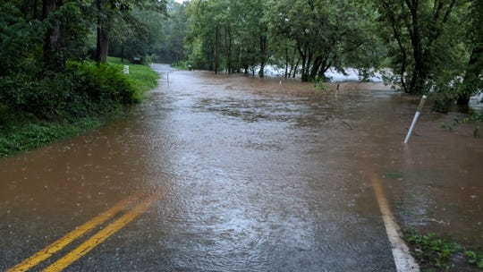 Conewago Creek Road in East Manchester Township was flooded Monday with high water.