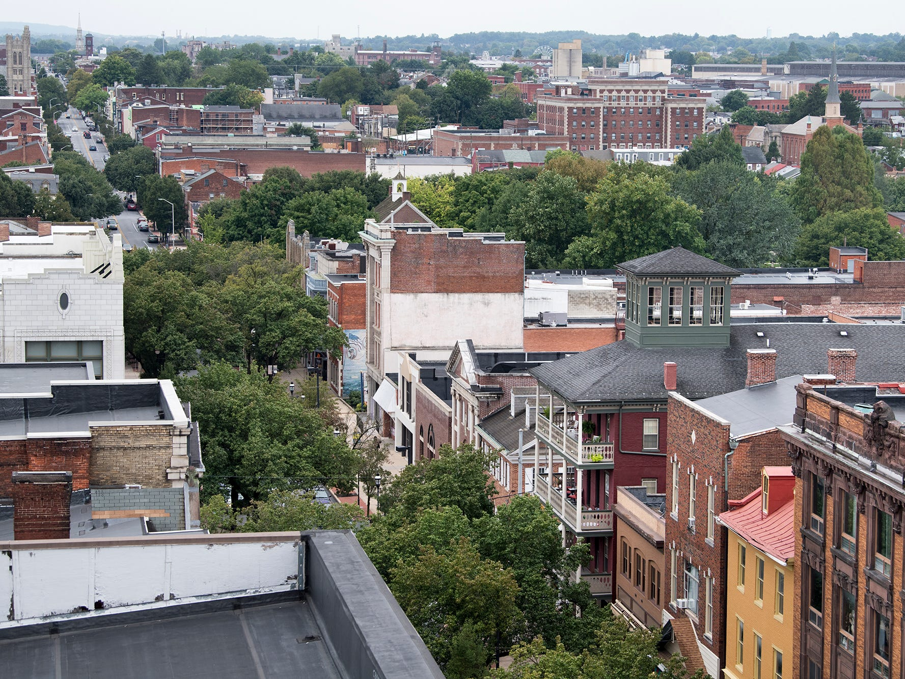 Looking west on West Market Street from the roof of the Rupp-Schmidt Building at 2 West Market Street in York.
