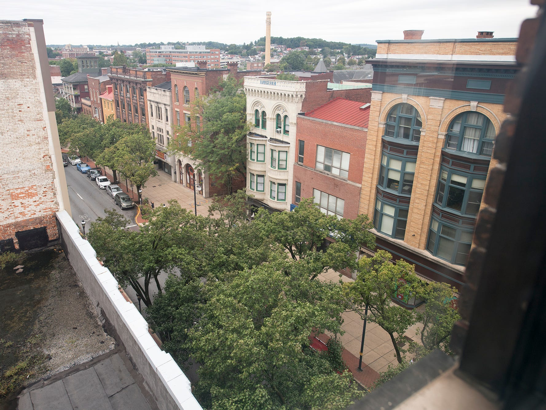 Looking west down West Market Street from window of the Rupp-Schmidt Building at 2 West Market Street in York.
