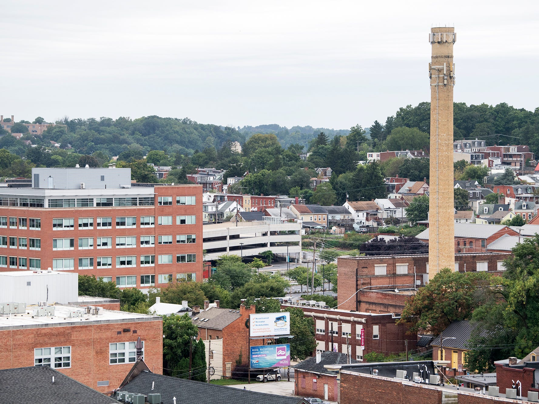 Looking northwest from the roof of the Rupp-Schmidt Building at 2 West Market Street in York. The smokestack on North Pershing can be seen at right.