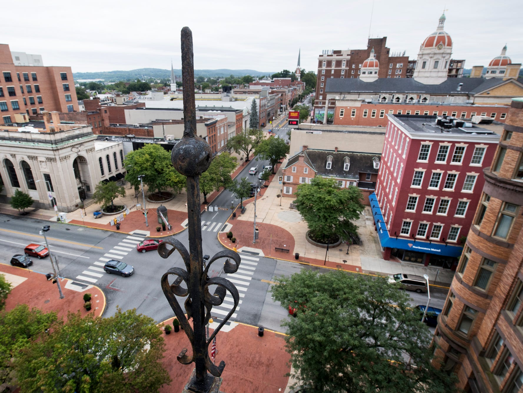 This is looking northwest across Continental Square from the roof of the Rupp in York.