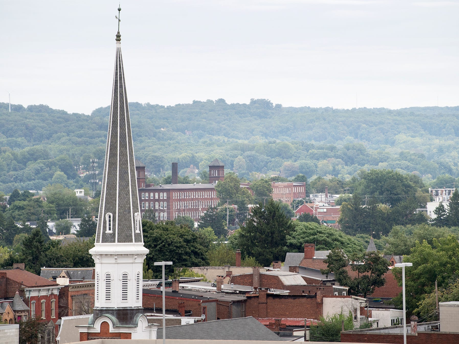 Looking northeast from the roof of the Rupp-Schmidt Building at 2 West Market Street in York. The steeple, at right, rises up from the First Moravian Church on North Duke Street.