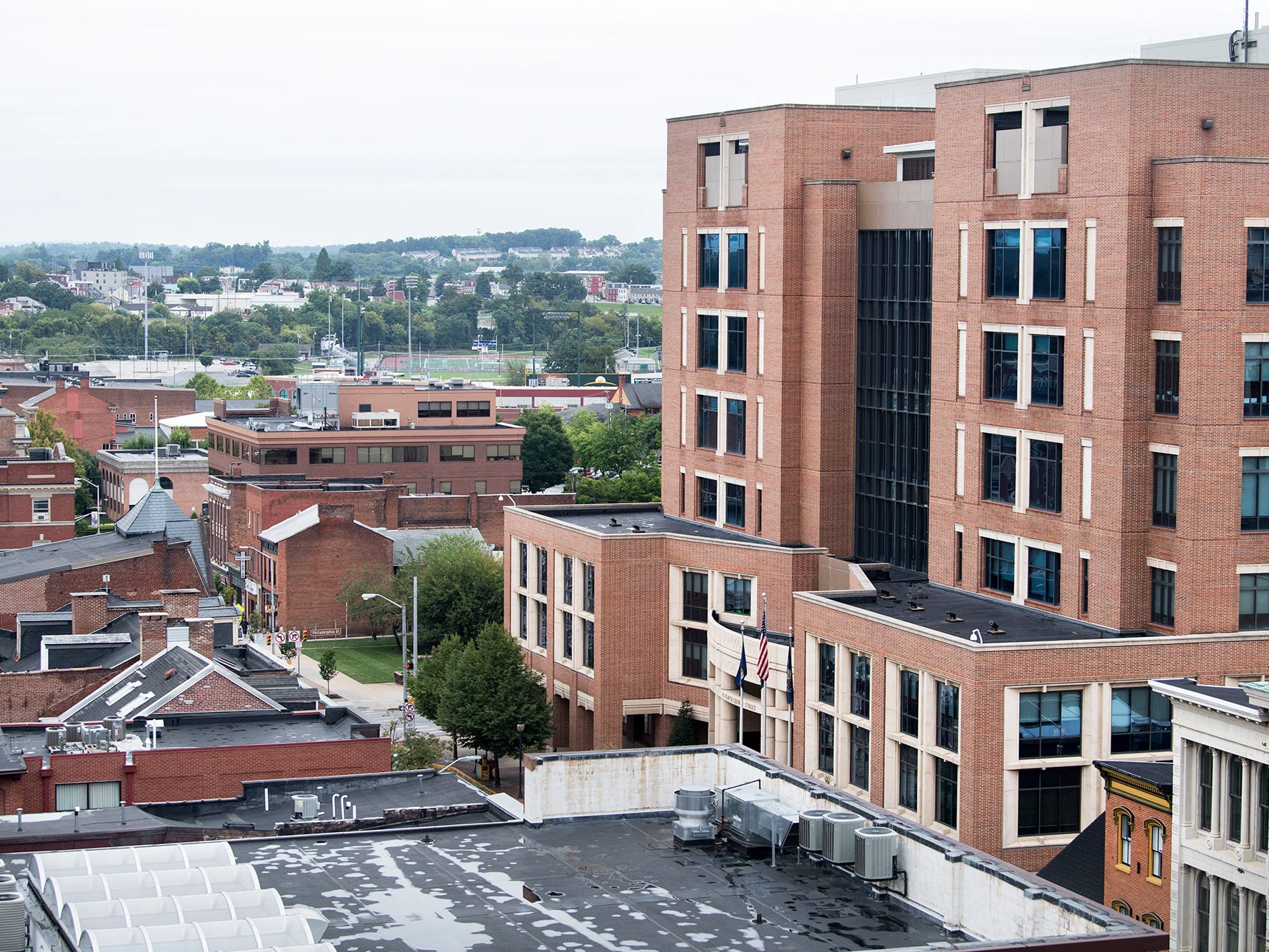 Looking north up North George Street from the roof of the Rupp-Schmidt Building at 2 West Market Street in York. The York County Judicial Center is at right.
