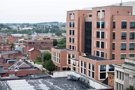 In this photo from 2018, the York County Judicial Center is seen from the roof of the Rupp-Schmidt Building on West Market Street in York.