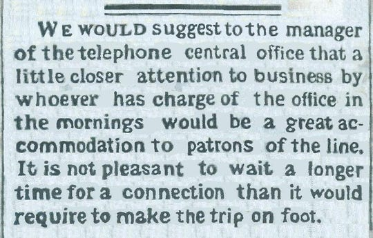 This Nov. 1, 1881 snippet indicates early usage of telephones in Richmond was not without mishap.