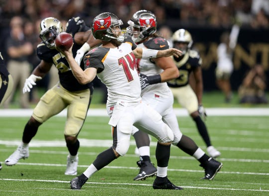 Ex-Bills quarterback Ryan Fitzpatrick threw for 417 yards Sunday against the Saints.