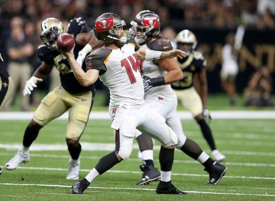 Ex-Bills quarterback Ryan Fitzpatrick threw for 417 yards Sunday against the Saints.