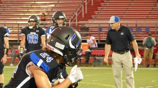 U-Prep's Ben Burgess prepares to run a practice route before the Panthers' 15-0 win over Clear Lake on Friday, Sept. 7 at Foothill High School.