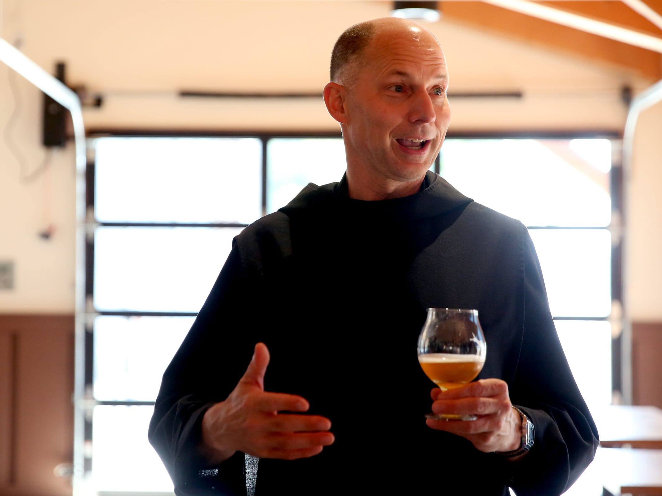 Father Martin Grassel speaks at the Benedictine Brewery in Mt. Angel on Wednesday, Sep. 5, 2018. The brewery, operated by the monks of Mount Angel Abbey, opens September 22.