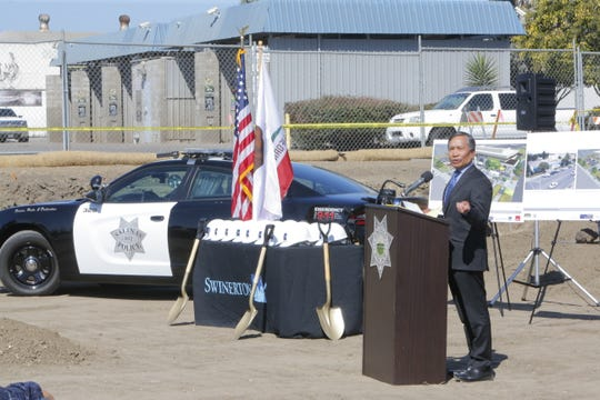 Salinas City Manager Ray Corpuz Jr. speaks at the groundbreaking for the new Salinas Police Department headquarters Monday.