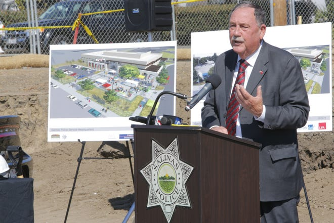 Salinas Mayor Joe Gunter speaks at the groundbreaking for the new Salinas Police Department headquarters Monday.