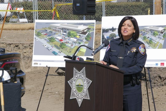 Salinas Police Chief Adele Fresé speaks at the groundbreaking for the new Salinas Police Department headquarters.