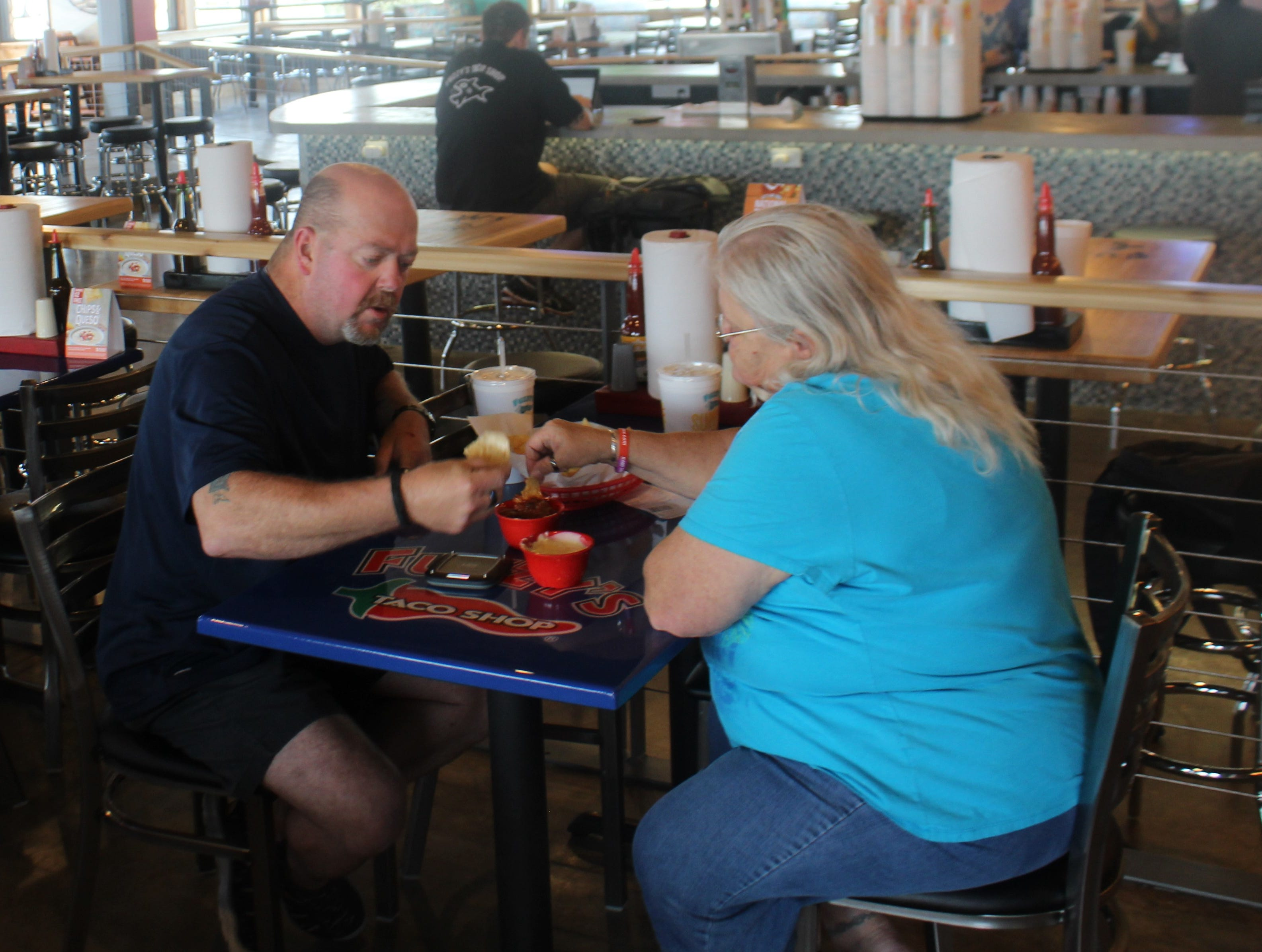 James and Debra Robertson enjoying some chips and queso Monday, Sept. 10, 2018 at Fuzzy's Taco Shop, 4333 Sherwood Way.