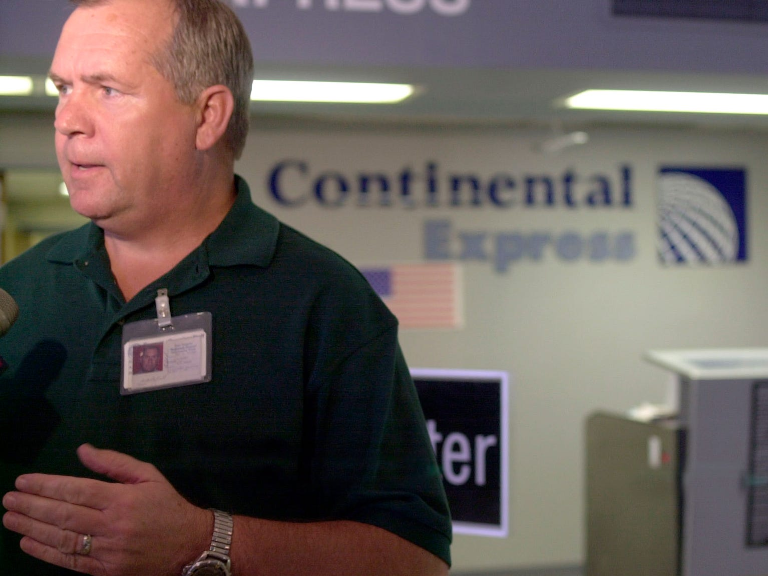 Mathis Field Director Arb Ryland on Sept. 17, 2001, explains Continental Express Airlines' Oct. 1 withdrawal from San Angelo. Nationwide Continental was laying off 12,000 employees because of a commercial airline slowdown created  by the Sept. 11, 2001, terrorist attacks.