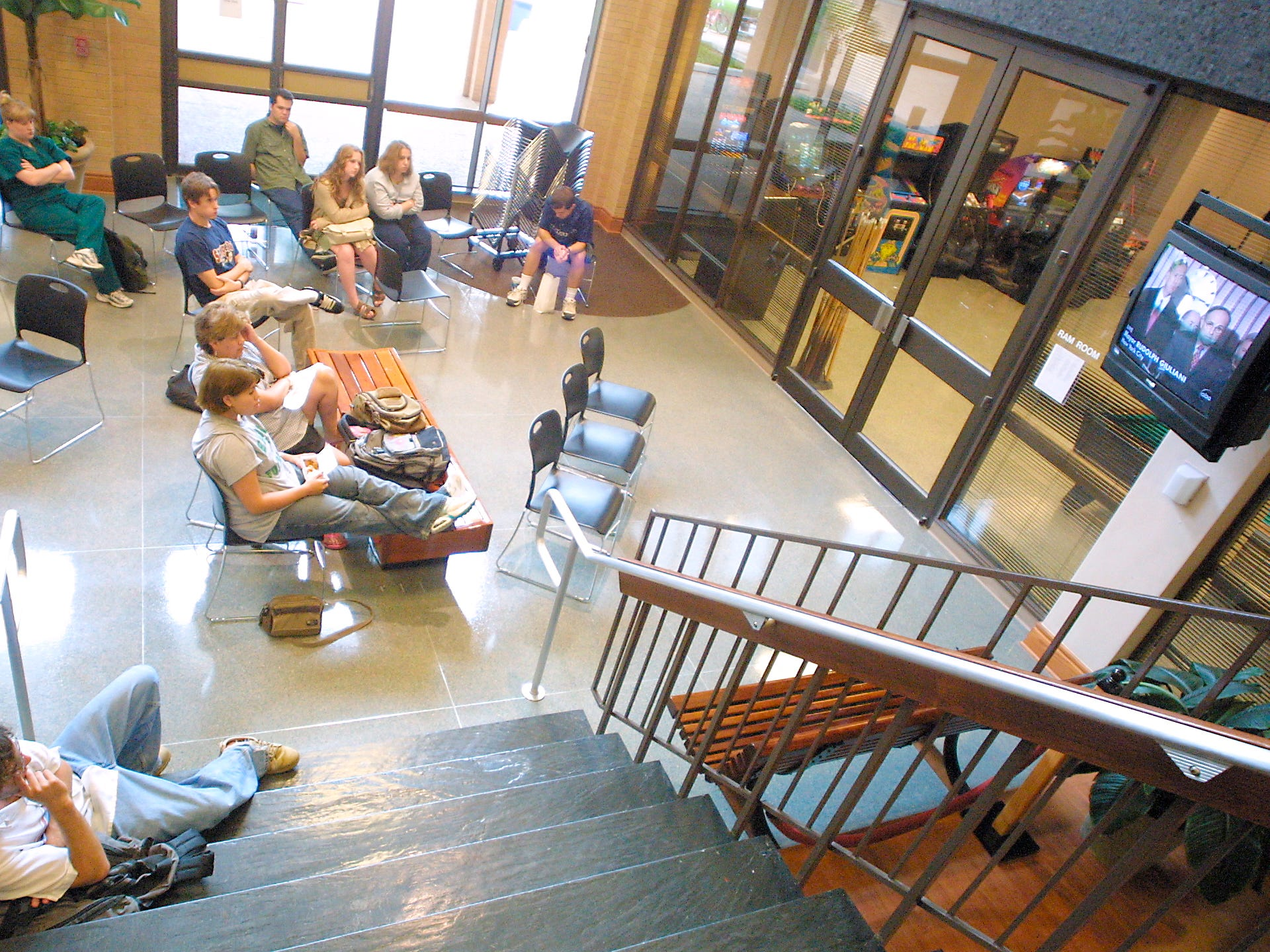 Angelo State University students sit in the Houston Harte University Center, watching a news conference with New York City officials concerning the terrorists attacks of Sept. 11, 2001.