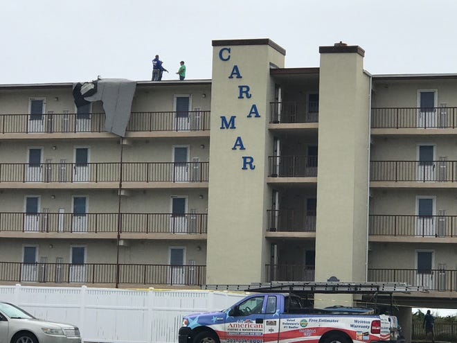The Cara Mar lost part of its roof over the weekend.