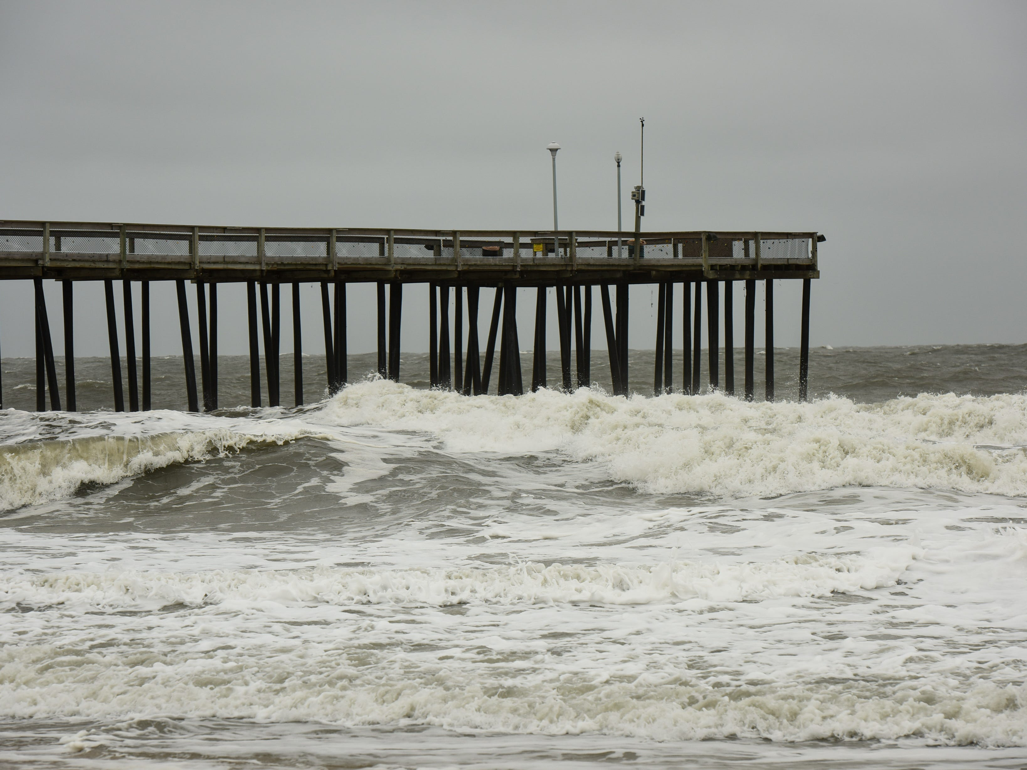 Stormy seas at inlet beach in Ocean City, Maryland on Monday, Sept. 10.